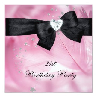 21st Birthday Party Pink Black White Card