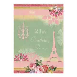 21st Birthday Pink Eiffel Tower and Chandelier Personalized Announcement