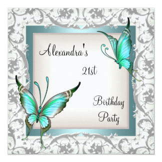 21st Birthday Teal Floral Butterfly Silver White Card