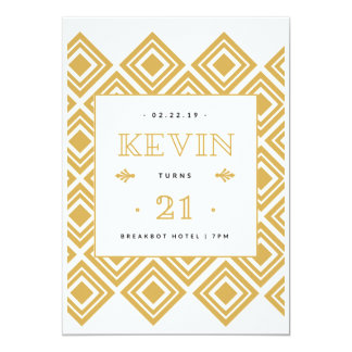 21st Birthday White and Gold Card