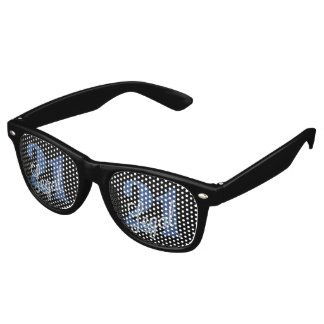 21st Blue | 21 Legal Glitter Black Party Theme Retro Sunglasses