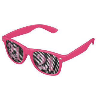 21st Pink | 21 Legal Glitter Black Party Theme Retro Sunglasses