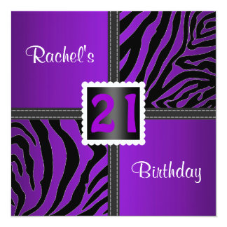 21st purple birthday party invitation