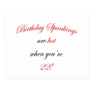 22 Birthday Spanking Postcard