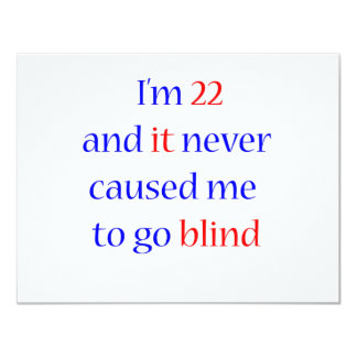 22 never gone blind 11 cm x 14 cm invitation card