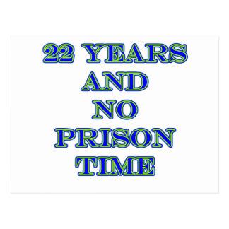 22 no prison time postcard