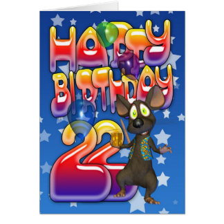 22nd Birthday Card, Happy Birthday Greeting Card