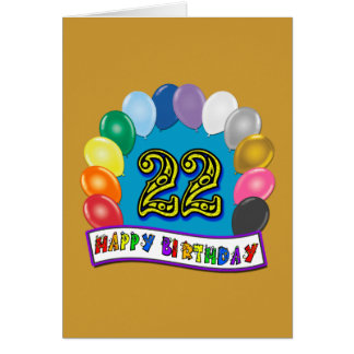 22nd Birthday Gifts with Assorted Balloons Design Greeting Card