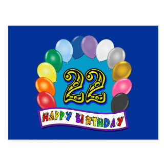 22nd Birthday Gifts with Assorted Balloons Design Postcard