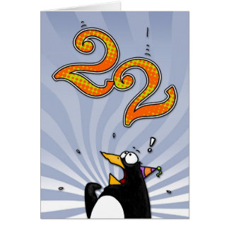22nd Birthday - Penguin Surprise Card