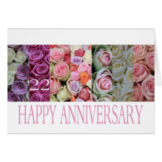 22nd Wedding Anniversary Card Pastel Roses