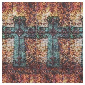 232 Cross Vintage Antique Rustic c . Fabric