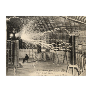 "24""x18"" Nikola Tesla in His Lab Wood Wall Art"