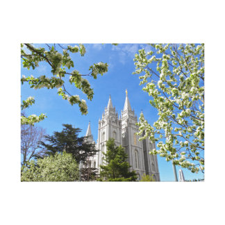 """24"""" X 18"""" Canvas Salt Lake City LDS Temple Stretched Canvas Print"""