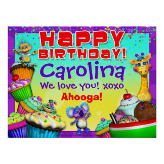 "24x18"" GiggleBellies Cupcake Birthday Poster"