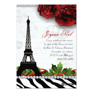 252 Christmas Paris Card Eiffel Tower Zebra 13 Cm X 18 Cm Invitation Card