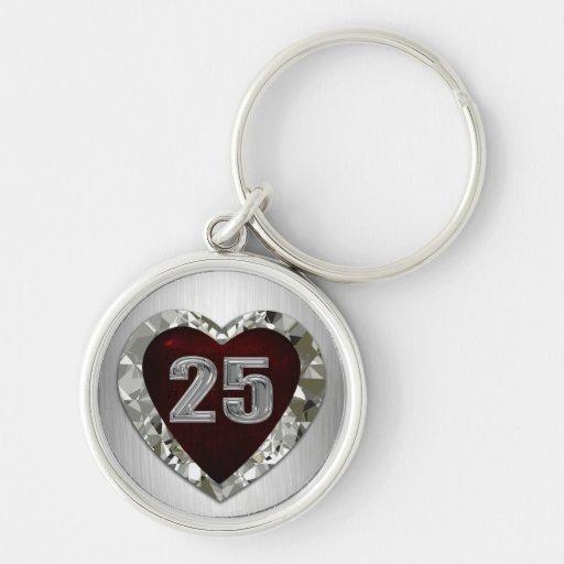 25 Diamond Heart Keychain