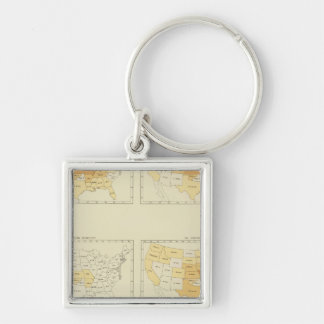 25 Interstate migration 1890 INLA Silver-Colored Square Key Ring