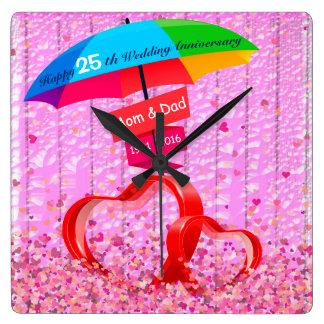 25 th Wedding Anniversary Hearts With Umbrella Wall Clock