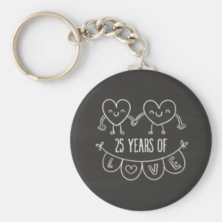25th Anniversary Gift Chalk Hearts Basic Round Button Key Ring