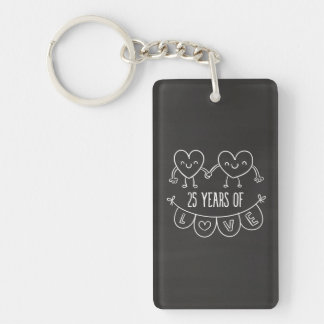 25th Anniversary Gift Chalk Hearts Double-Sided Rectangular Acrylic Key Ring