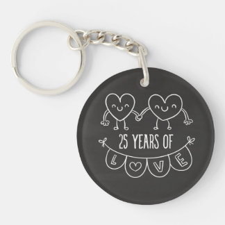 25th Anniversary Gift Chalk Hearts Double-Sided Round Acrylic Key Ring
