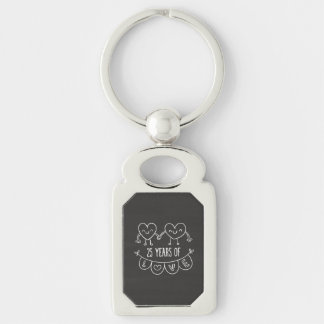 25th Anniversary Gift Chalk Hearts Silver-Colored Rectangle Key Ring