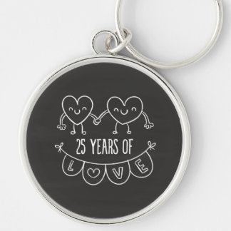 25th Anniversary Gift Chalk Hearts Silver-Colored Round Key Ring