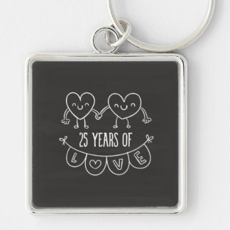 25th Anniversary Gift Chalk Hearts Silver-Colored Square Key Ring