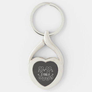 25th Anniversary Gift Chalk Hearts Silver-Colored Twisted Heart Key Ring