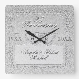 25th Anniversary Monogram Square Wall Clock