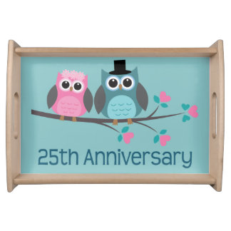 25th Anniversary Owl Couple Serving Tray