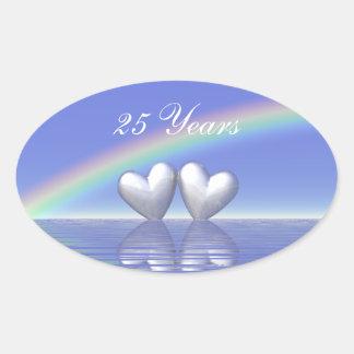 25th Anniversary Silver Hearts Oval Sticker