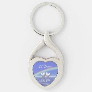 25th Anniversary Silver Hearts Keychain