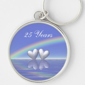 25th Anniversary Silver Hearts Silver-Colored Round Key Ring