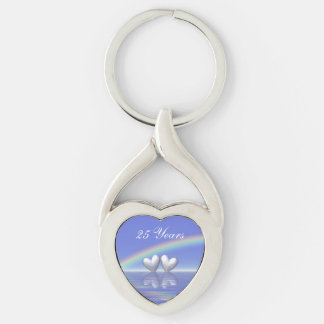 25th Anniversary Silver Hearts Silver-Colored Twisted Heart Key Ring