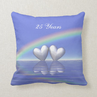 25th Anniversary Silver Hearts Throw Pillow