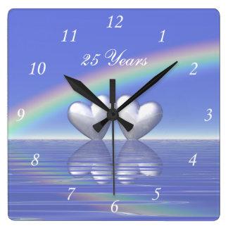 25th Anniversary Silver Hearts Wallclocks