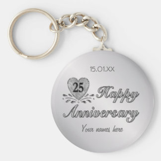 25th Anniversary - Silver Basic Round Button Key Ring