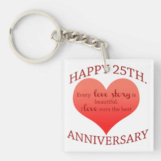 25th. Anniversary Single-Sided Square Acrylic Key Ring