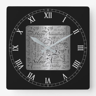 25th Anniversary Square Wall Clock