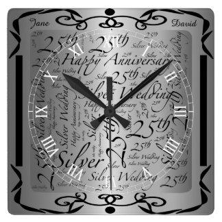 25th Anniversary Word Art Graphic Wall Clocks