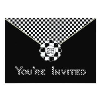"25th BIRTHDAY PARTY INVITATION - BLK/WHT ENVELOPE 5"" X 7"" Invitation Card"