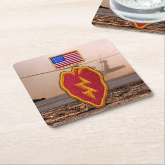 25th infantry division veterans vets square paper coaster