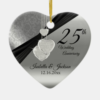 25th Silver Photo Wedding Anniversary with Photo Christmas Ornament