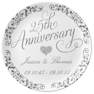 25th Silver Wedding Anniversary Decorative Plate Porcelain Plate