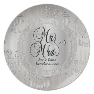 25th Silver Wedding Anniversary Dinner Plates