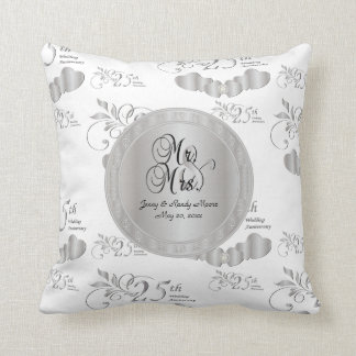25th Silver Wedding Anniversary | DIY Name & Date Throw Pillow