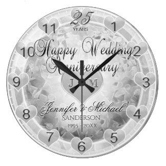 25th Silver Wedding Anniversary Hearts Clocks