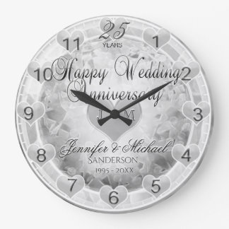 25th Silver Wedding Anniversary Hearts Large Clock